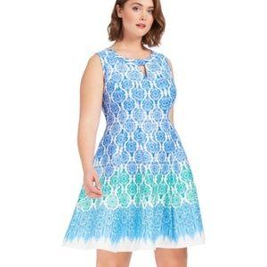 NWT Gabby Skye Perisian Damask Fit & Flare Dress